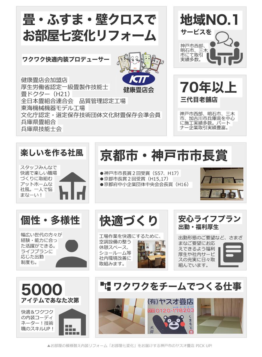 お部屋の模様替え内装リフォーム「お部屋七変化」をお届けする神戸市のヤスオ畳店 PICK UP。