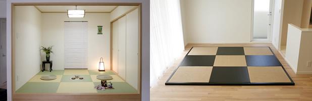 洋室や和モダンリビングにマッチする畳空間作りのご提案のページ。現代の住宅にも合うモダン畳がある部屋の写真画像。